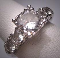 wedding photo - Antique White Sapphire Wedding Ring Vintage Art Deco Engagement