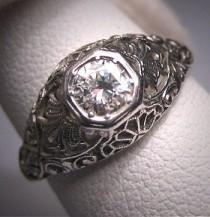 wedding photo - Platinum Antique Diamond Wedding Ring Vintage Art Deco