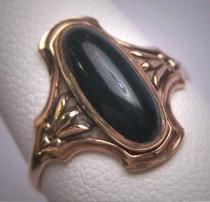 wedding photo - Antique Victorian Bloodstone Ring Wedding Gold 19th Century Art Nouveau