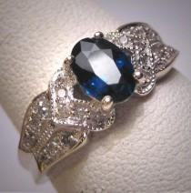 wedding photo - Vintage Sapphire Diamond Wedding Ring Art Deco Estate Engagement Band
