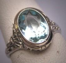 wedding photo - Vintage Aquamarine Diamond Ring Estate Art Deco Antique Wedding 1920