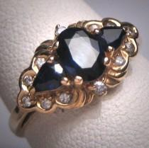wedding photo - Antique Sapphire Diamond Wedding Ring Band 14K Gold Retro Art Deco 50s