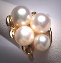 wedding photo - Vintage Mikimoto Pearl Ring 14K Gold 8mm Akoya Original Box c.1950