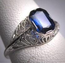 wedding photo - Antique Sapphire Wedding Ring Art Deco Vintage White Gold Filigree 20s