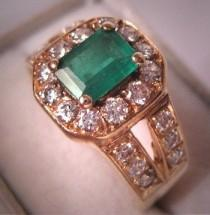wedding photo - Estate Vintage Emerald Diamond Ring 14K Gold Wedding Band