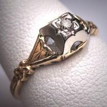 wedding photo - Antique Diamond Wedding Ring Vintage Art Deco Victorian