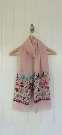 wedding photo - Embroidered Scarf Pink Blue Mauve, Gift for Her, Sarong, Lightweight, Unique Gift