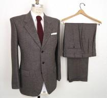 wedding photo - Valentino Two-Piece Tweed Suit /  gray herringbone 3-2 roll ivy league suit jacket & pants / grey wool wedding suit / men's medium