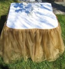 wedding photo - Tulle Tutu Table cloth decor Skirt Wedding Baby Shower High chair first Birthday party supplies You choose color 6 layers of tulle gold