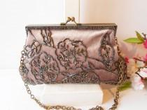 wedding photo - Vintage Velvet Evening Bag, Dusty Rose Velvet Bag, Beaded Trim EB-0134