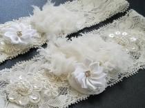 wedding photo - Wedding Garter Set, Bridal Lace Garter Set, Off White Garter Set, Shabby Flower Garter Set, Rustic Garter Sets, Keepsake Garter Set