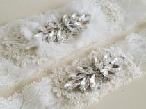 wedding photo - Bridal Garter Set, Wedding Lace Garter Set, Keepsake Garters, White Lace Crystal Garter, Bridal Lace Garter, Rustic Garter, Wedding Garters