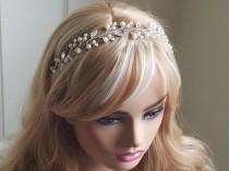 wedding photo - Pearl Crystal Bridal Hair Vine, Wedding Floral Hair Vine, Ivory Pearl Crystal Hair Piece, Pearl Leaf Silver Headpiece, Bridal Hair Jewelry