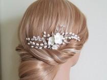 wedding photo - Wedding Pearl Hair Comb, Bridal Hair Piece, Freshwater Pearl Crystal Comb, Bridal Hair Jewelry, Wedding Pearl Floral Hair Comb, Flower Comb