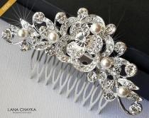 wedding photo - Bridal Crystal Hair Comb, Wedding Crystal White Pearl Hair Comb, Bridal Hair Piece, Bridal Hair Jewelry, Crystal Silver Floral Bridal Comb