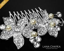 wedding photo - Flower Crystal Hair Comb, Orchid Crystal Wedding Comb, Floral Crystal Head Piece, Wedding Hair Jewelry, Crystal Silver Comb, Bridal Combs