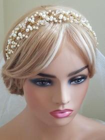 wedding photo - Pearl Crystal Bridal Hair Vine, Wedding Pearl Hairpiece, Pearl Gold Headpiece, Pearl Hair Jewelry, Bridal Hair Accessories Pearl Gold Wreath
