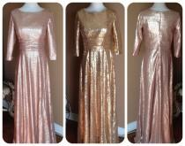 wedding photo - Long Sleeves sequin bridesmaid dress, Fully cover, a-line skirt, sequin maxi dress