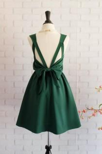 wedding photo - Forest green dress Green Bridesmaid dress Wedding Prom dress Cocktail Party dress Evening dress Backless bow dress