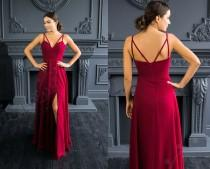 wedding photo - Burgundy bridesmaid dress long, pocket can be added