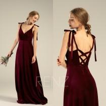 wedding photo - Velvet Bridesmaid Dress Long V Neck Burgundy Velvet Dress A-line Backless Prom Dress (HV767)