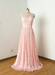 wedding photo - Cap Sleeves Sweetheart Blush Lace Long Bridesmaid Dress with Back Buttons