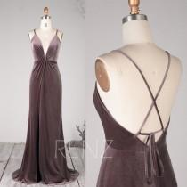 wedding photo - Prom Dress Dark Mauve Velvet Ruched V Neck Bridesmaid Dress Spaghetti Straps Lace-up Wedding Dress Backless Slit Long Train Ball Gown(HV793)