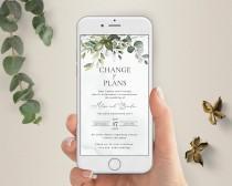 wedding photo - Electronic Postpone Wedding, Change of Plans, Change the Date, Postpone Wedding Announcement, Digital Postponement Announcement, A107