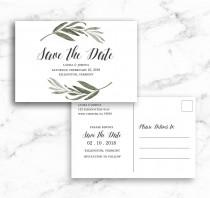 wedding photo - Save the Date Postcard Post Card Watercolor Branch Leaves - Printable Editable Template Instant Download JPEG PDF
