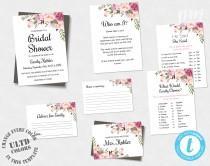 wedding photo - Bohemian Floral Bridal Shower Template Suite, Boho Invitation Set, Pink Floral Bridal Shower Game Pack, DIY Edit + Print Yourself, WSBH