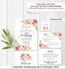 wedding photo - Wedding Invitation Template, Floral Wedding Invitation Suite, Boho Chic Wedding Set, #A049, Instant Download Editable PDF
