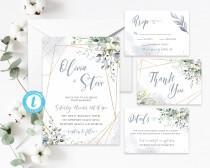 wedding photo - Bohemian Wedding Suite, Geometric Gold Frame Invite, Dusty Blue Foliage Greenery Eucalyptus, Boho Wedding, Elegant, Gold, Blue Watercolor