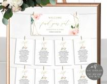 wedding photo - Seating Chart Sign Template, TRY BEFORE You BUY, Fully Editable Instant Download, Blush Floral Cards