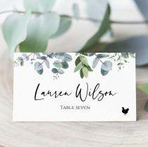 wedding photo - Eucalyptus Place Card Template With Meal Icons, Editable Wedding Place Card, Printable Escort Cards, Folded Place Cards Flat,  Templett, C40