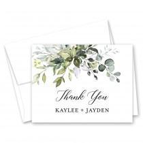 wedding photo - Boho Watercolor Greenery - Eucalyptus Greenery Wedding Thank You Cards - Set of 10 with envelopes