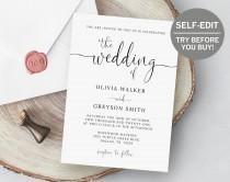 wedding photo - Wedding Invitation Template, Editable Invitation Modern Calligraphy, Minimalist Wedding Invitation, Wedding Template, Script, Simple, Invite