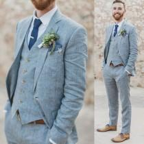 wedding photo - Men's Navy Blue Linen Suits Slim fit 3 Piece Summer Suits for Men Groom Wear Wedding Suits
