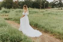 wedding photo - Beautiful Wedding Dress/ Bohemian bride/ Off-shoulder/ Lace/ Unique/ Romantic/ Hand-restored