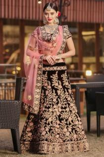 wedding photo - Majestic Maroon Velvet Wedding Wear Embroidered work Bridesmaid Lehenga Choli for usa wedding women Online Boutique