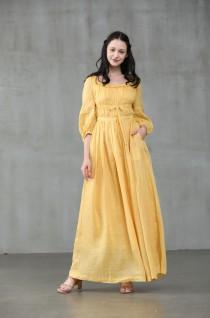 wedding photo - maxi linen dress in yellow, ruffle dress, bridal dress, wedding dress, layered dress, princess dress