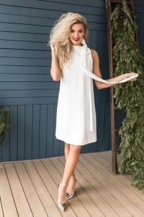 wedding photo - Casual White Dress, Simple Wedding Dress Short, Knee Length Dress with Bow, Loose Fit dress, Casual Dress for women, Size XS / Size XL