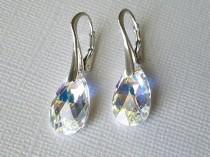 wedding photo - Aurora Borealis Leverback Earrings, Swarovski AB Crystal Sterling Silver Earrings, Bridal Crystal Earrings, Wedding Party Gift, AB Jewelry