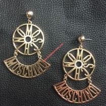 wedding photo - Moschino Sector Logo Earrings Gold