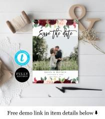 wedding photo - Templett Photo save the date template Printable Engagement Save the date with picture Merlot Red Bohemian Wedding Personalized DIY #vmt218