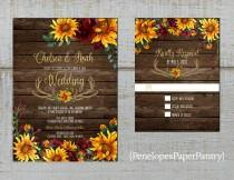 wedding photo - Rustic Sunflower Fall Wedding Invitation,Sunflowers,Burgundy Roses,Antlers,Barn Wood,Gold Print,Shimmery,Printed Invitation,Wedding Set