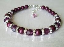wedding photo - Purple Pearl Bracelet, Swarovski Blackberry Pearl Silver Bracelet, Wedding Purple Bracelets, Blackberry Pearl Jewelry, Purple Pearl Jewelry
