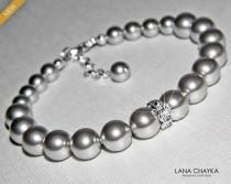 wedding photo - Light Grey Pearl Bracelet, Swarovski Gray Pearl Silver Bracelet, Wedding Light Gray Beaded Bracelet, Bridal Pearl Jewelry, Wedding Jewelry