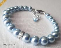 wedding photo - Light Blue Pearl Bracelet, Swarovski Blue Pearl Silver Bracelet, Bridal Bracelet, Wedding Something Blue, Blue Pearl Jewelry Classy Bracelet