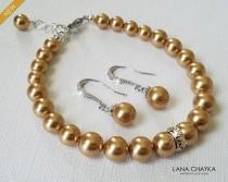 wedding photo - Golden Pearl Jewelry Set, Wedding Earrings&Bracelet Pearl Set, Swarovski Bright Gold Silver Set, Wedding Yellow Pearl Jewelry Bridal Jewelry
