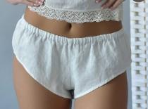 wedding photo - Linen French Knickers Women's/ Organic Panties-Shorts of Low Rise/ Linen Underwear and Sleepwear/ Luxury Linen for Her